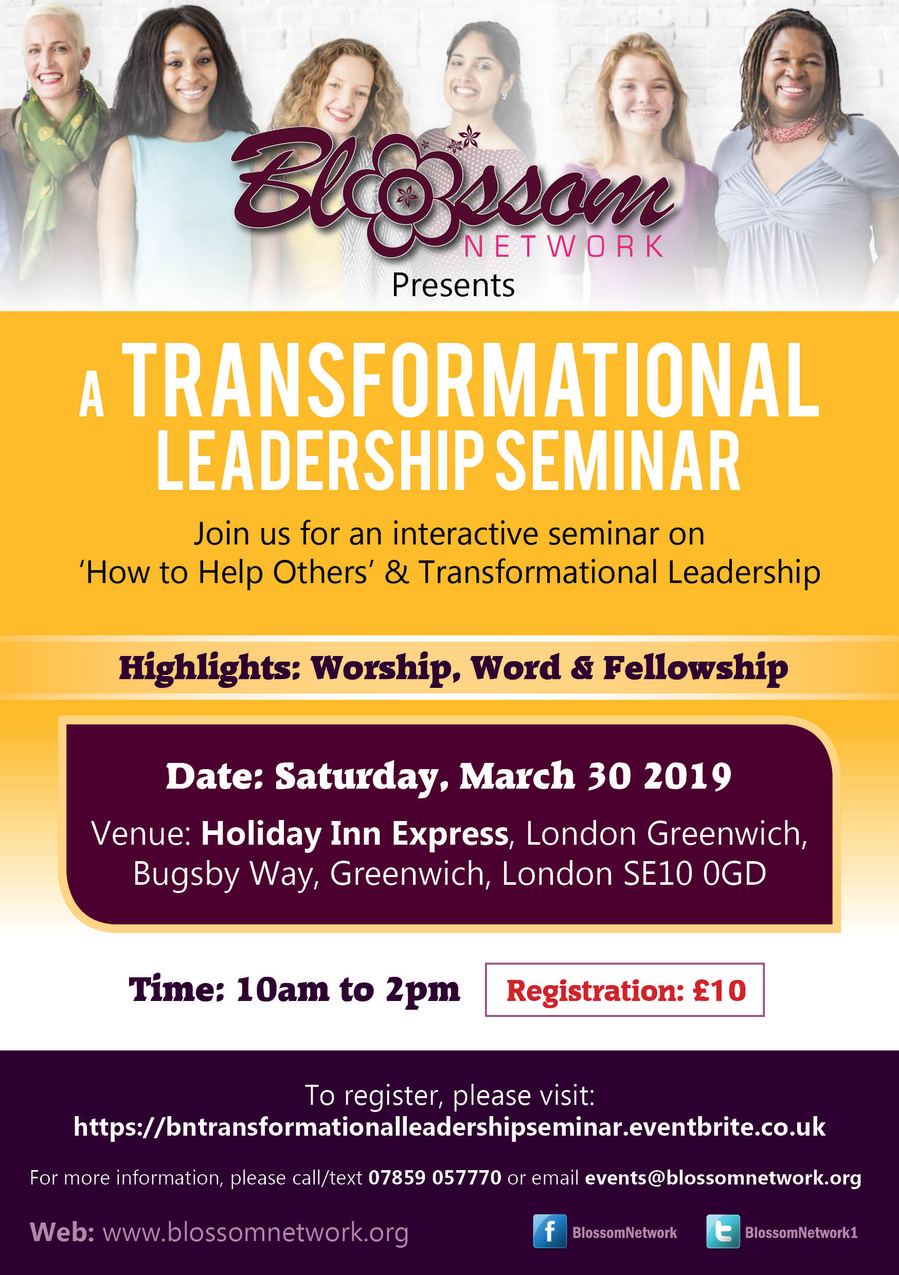 Blossom Transformational Leadership Seminar @ Holiday Inn Express, London Greenwich | England | United Kingdom
